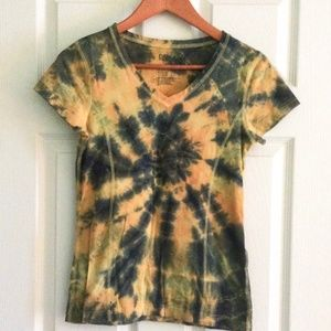 Danskin Now Active T Shirt Tie Dye V Neck SZ Small